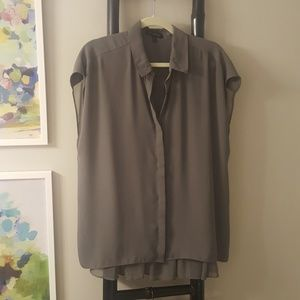 Banana republic gray boxy blouse pleated back XL
